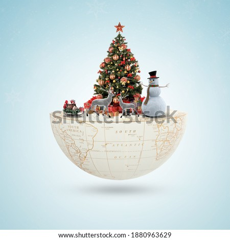 Merry Christmas and Happy New Year. Realistic pile gifts boxes. Open gift box full with Santa Claus inside. world Christmas, Santa Claus, greeting card, cover. Xmas background, Christmas Royalty-Free Stock Photo #1880963629