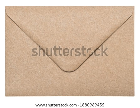Recycled craft paper envelope isolated on white background Royalty-Free Stock Photo #1880969455