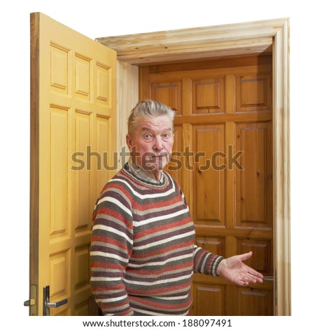 Adult man between two doors. #188097491