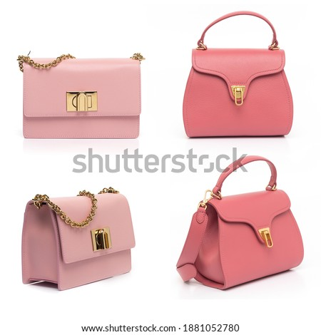 pink leather purse collection isolated on white background Royalty-Free Stock Photo #1881052780