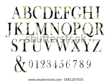 Watercolor alphabet clipart.  Artistic decorative uppercase letters on white backfround. Black and yellow alphabet can be used for monogram, poster, sublimation letters