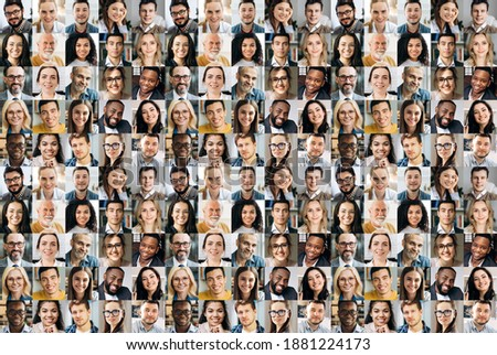Collage of a lot of happy multiracial people looking at the camera. Many smiling multiethnic faces of successful business people on a screen of computer or laptop Royalty-Free Stock Photo #1881224173