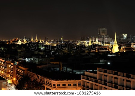 Pictures of Ratchabophit temple, Ratchapradit temple, Phra Kaew temple, taken from the rooftop of Theo Siam Plaza.