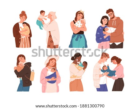 Set of cute women and families with newborn baby. Collection of different children with happy parents feeling love isolated vector flat illustration. Mother, father and kids embracing each other Royalty-Free Stock Photo #1881300790