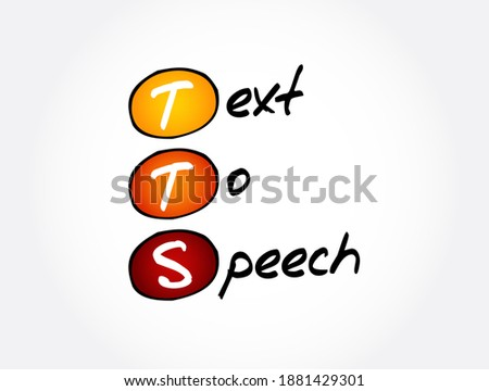 TTS - Text to Speech acronym, technology concept background