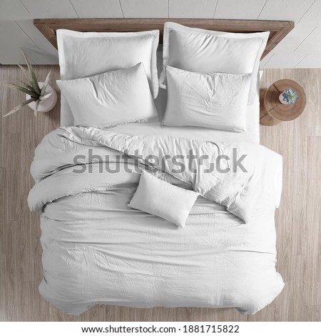 White bed duvet cover ısolated. Bedroom view from top Royalty-Free Stock Photo #1881715822