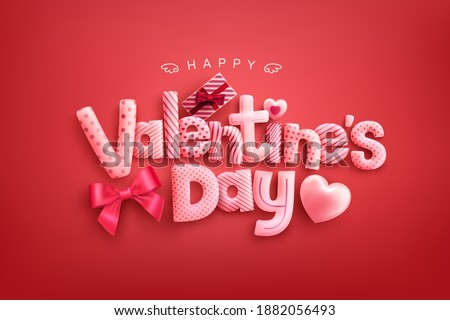 Happy Valentine's Day Poster or banner with cute font,sweet hearts and gift box on red background.Promotion and shopping template or background for Love and Valentine's day concept Royalty-Free Stock Photo #1882056493