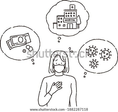 Clip art of a woman worrying about her illness and money