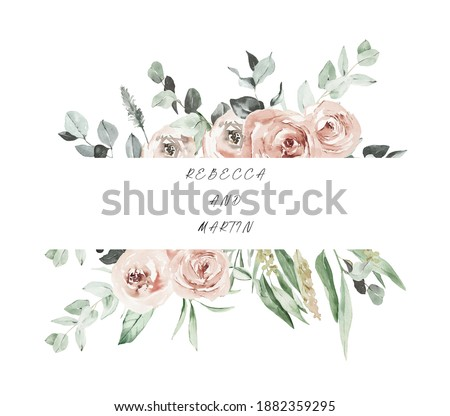 Watercolor boho roses frame. Watercolor floral borders. Watercolor floral clipart, Wedding template with dusty pink roses. Cards for valentine Day, Mother's day