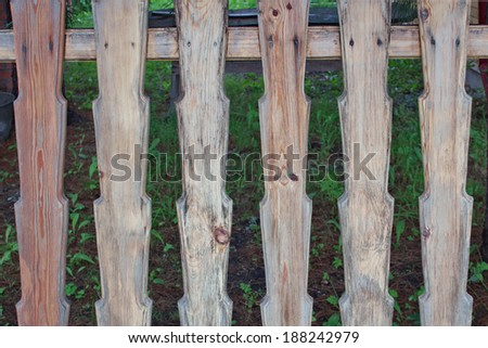 Wooden Fence with the texture of cracked paint emerald #188242979