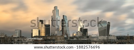 Stunning Panoramic View of London City Skyling in Golden Hour, Long Exposure #1882576696