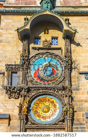 Prague Astronomical Clock, or Prague Orloj (Czech: Prazsky Orloj), medieval astronomical clock located in Prague, Czech Republic. First installed in 1410. 3rd-oldest astronomical clock in the world Royalty-Free Stock Photo #1882587517