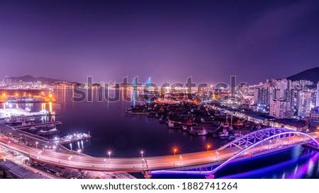Busan harbor bridge at night. Busan Port, South Korea.  Royalty-Free Stock Photo #1882741264