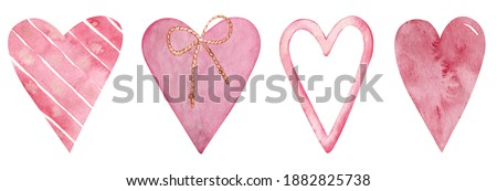 Set of watercolor pink hearts. Love card with pink watercolor hearts isolated on the white background. Romantic clipart. Valentine's Day set.