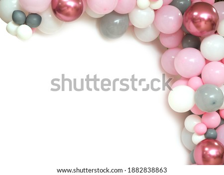 free space on a colorful background of balloons.