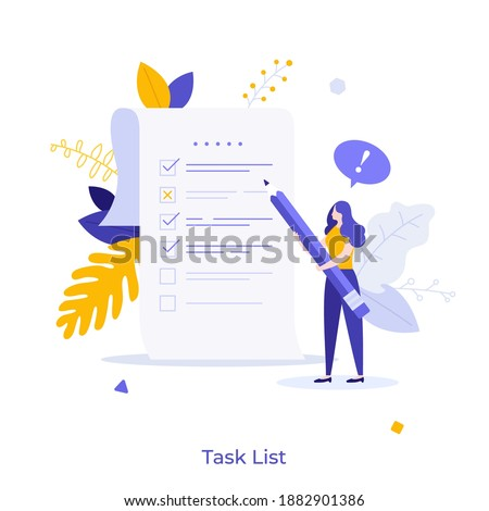 Woman with pencil marking completed tasks on to-do list. Concept of time management, work planning method, organization of daily goals and accomplishments. Flat vector illustration for banner, poster. Royalty-Free Stock Photo #1882901386