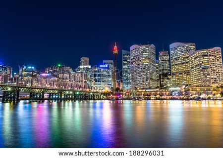 Darling Harbour is a city center of Sydney Royalty-Free Stock Photo #188296031