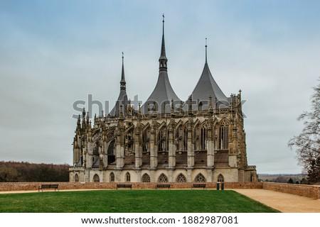 Saint Barbara's Church (Czech: Chram sv. Barbory) in Kutna Hora, Czech republic.Famous Gothic catholic church in central Europe, UNESCO world heritage site.Czech popular tourist attraction. #1882987081
