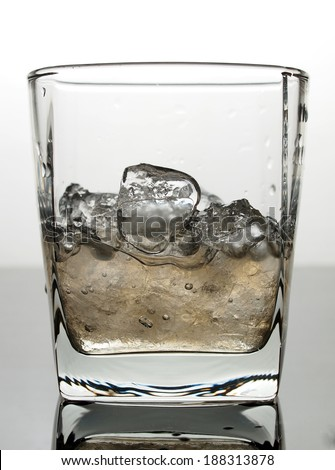 Ice and water in glass