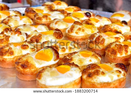 Korean egg bread, known as gyeryan-ppang, for sale at Myeongdong Street Food market in central Seoul, South Korea Royalty-Free Stock Photo #1883200714
