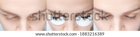 Eyelash tinting before and after. Closeup of womans eyes during eyelash dyeing procedure. Royalty-Free Stock Photo #1883216389