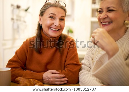 Indoor image of two joyful positive European female friends on retirement having fun, talking, telling funny jokes during meeting at home or cafe. People, friendship, age and retirement concept Royalty-Free Stock Photo #1883312737
