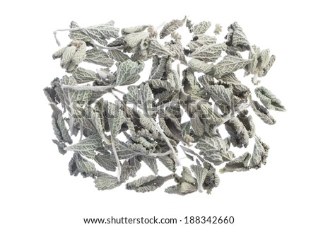 Closeup of dried Marrubium vulgare horehound medicinal herb leaves isolated on white background #188342660