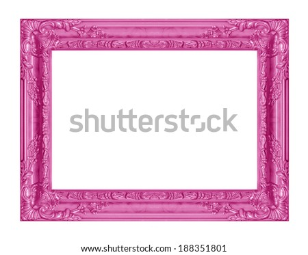 The antique pink frame isolated on the white background