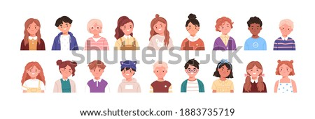 Set of children avatars. Bundle of smiling faces of boys and girls with different hairstyles, skin colors and ethnicities. Colorful flat vector illustration isolated on white background Royalty-Free Stock Photo #1883735719