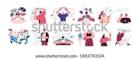 Set of people with different mental mindset types or models: creative, imaginative, logical and structural thinking. Mind behavior concept. Color flat vector illustration isolated on white background Royalty-Free Stock Photo #1883743504