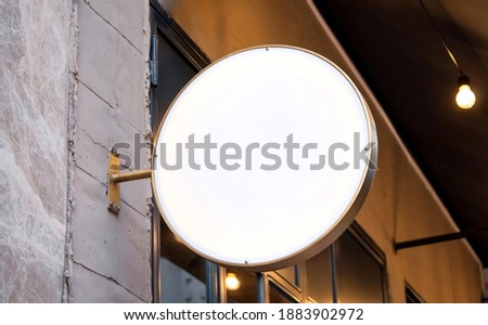 signboard mockup and template empty frame for logo or text on exterior street advertising city shop background, modern flat style