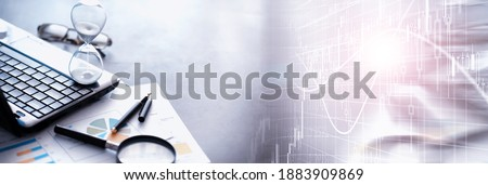 Working time symbolizes an hourglass. Office desk with insurance manager and banker. Office employee at the table. The concept of lack of time. Royalty-Free Stock Photo #1883909869