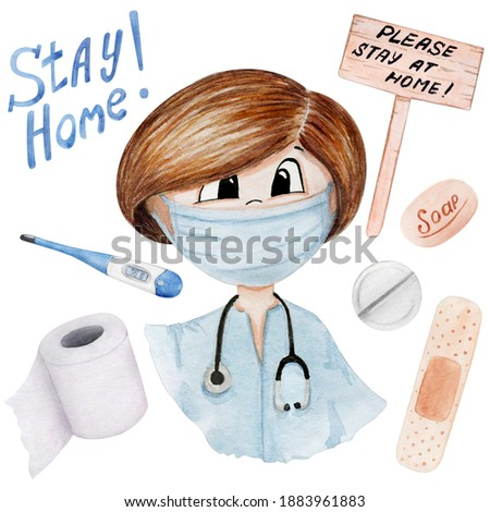 Doctor clipart watercolor for Medical Planner , Medical Illustration, Quarantine Clipart