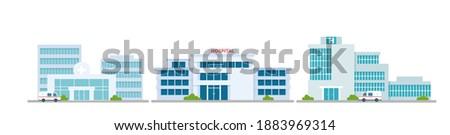 Cartoon modern medicine clinic skyscrapers set, outdoor facade hospital exterior with ambulance car. Hospital building medical office collection Royalty-Free Stock Photo #1883969314