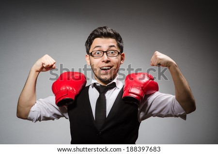 Funny boxer businessman in sport concept #188397683