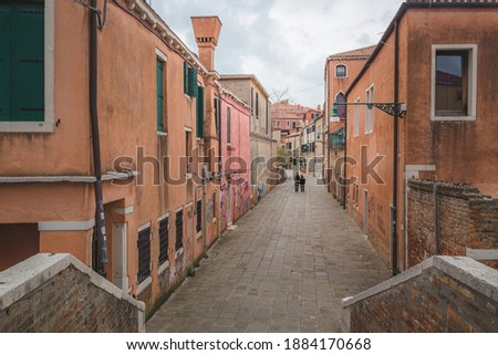The quiet side of Venice. A residential neighbourhood free of tourists in the popular tourism destination.