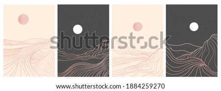 set of creative minimalist modern line art print. Abstract mountain contemporary aesthetic backgrounds landscapes. with mountain, forest, sea, skyline, wave. vector illustrations Royalty-Free Stock Photo #1884259270