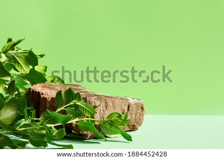 Natural stone podium display with leaf shadow. Product presentati on soft green background. Cosmetics or beauty product promotion trendy minimalist mockup. Royalty-Free Stock Photo #1884452428