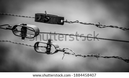 Classic old hinges and locks on a barbed wire fence. With little depth of field in black and white. In the rural area near Utrecht.