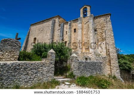 Saint-Saturnin-lès-Apt, medieval hilltop village in the Luberon in Provence-Alpes-Côte-d'Azur. Royalty-Free Stock Photo #1884601753