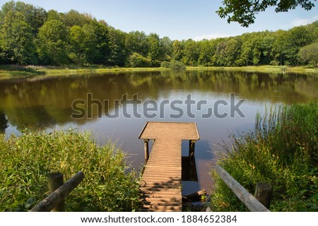 View on the Windsborn Crater Lake in Rhineland-Palatinate, Germany