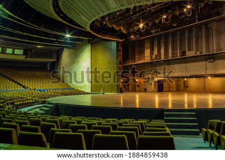 Concert hall of abandoned Tallinn City Hall (Estonian: Tallinna Linnahall, originally the V. I. Lenin Palace of Culture and Sports). Venue was used as a filming location for the feature film Tenet.  Royalty-Free Stock Photo #1884859438