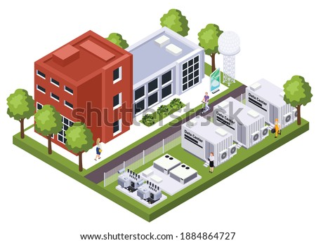 Modern data center building complex computer storage systems housing telecommunications components isometric exterior view vector illustration Royalty-Free Stock Photo #1884864727
