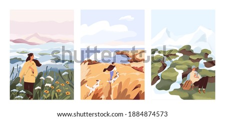 Man and woman relax outdoor at natural landscape vector flat illustration. Scenes with people walking alone, enjoy scenic nature views. Concept of freedom, relax and inspirational lifestyle Royalty-Free Stock Photo #1884874573