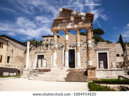 Capitolium (Temple of the Capitoline Triad), the main temple in Roman town of Brixia now Brescia, Lombardy, Northern Italy, part of the UNESCO world heritage Monumental area of the Roman forum Royalty-Free Stock Photo #1884954820