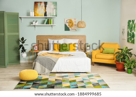 Interior of modern stylish bedroom Royalty-Free Stock Photo #1884999685