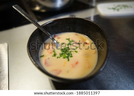 Coconut soup with bell pepper, chives and prawns, Asian Thai curry, product picture