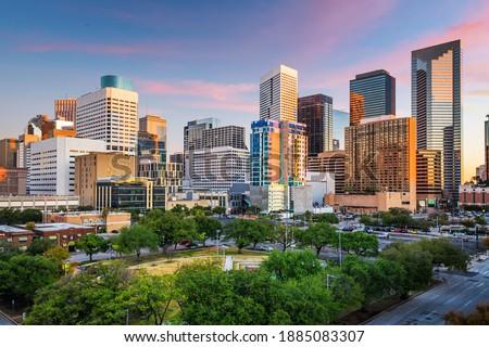 Houston, Texas, USA downtown park and skyline at twilight.