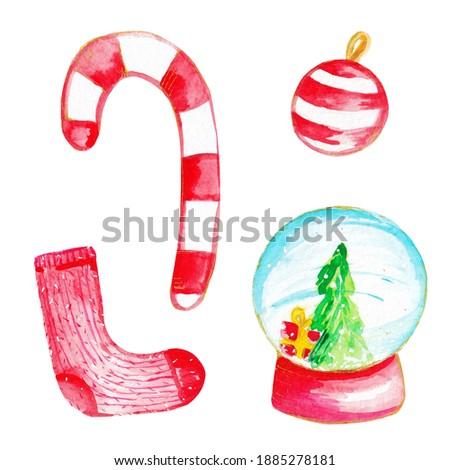 Watercolor christmas illustration. Hand drawn watercolor illustration clip art set of santa sweet, balls, gifts. High quality photo