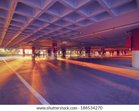 Empty Parking on the top of Tibidabo Mountain in Barcelona, Catalonia, Spain #188534270